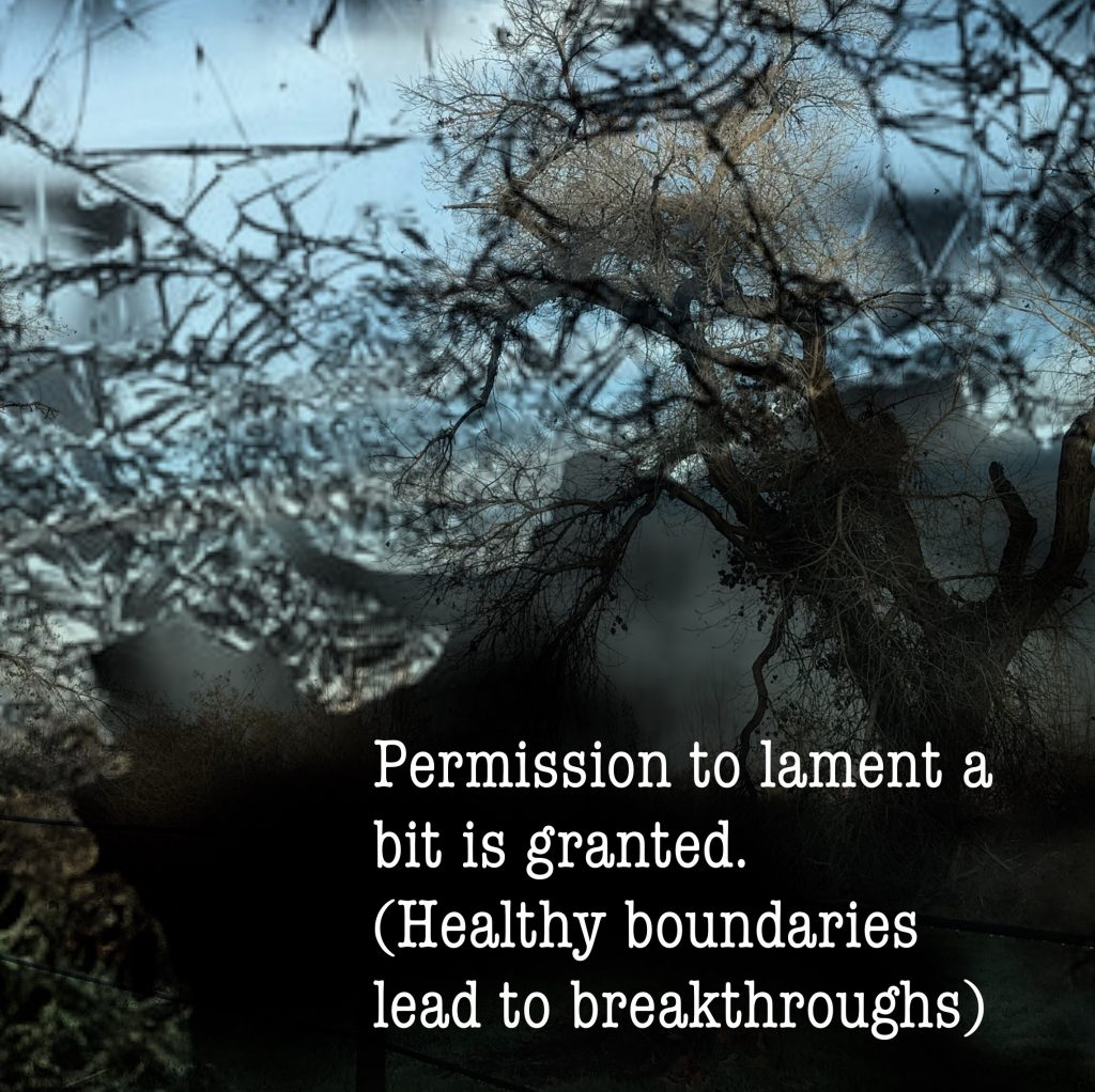 Permission to lament is granted. Healthy boundaries lead to breakthroughs,