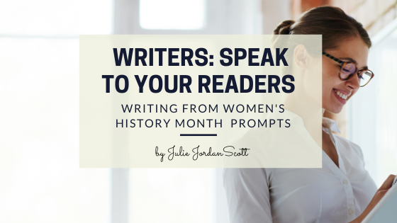 "A writer standing at a white board looks down at her notepad, listening to the advice ""Writers, speak to your readers."" She smiles in understanding."
