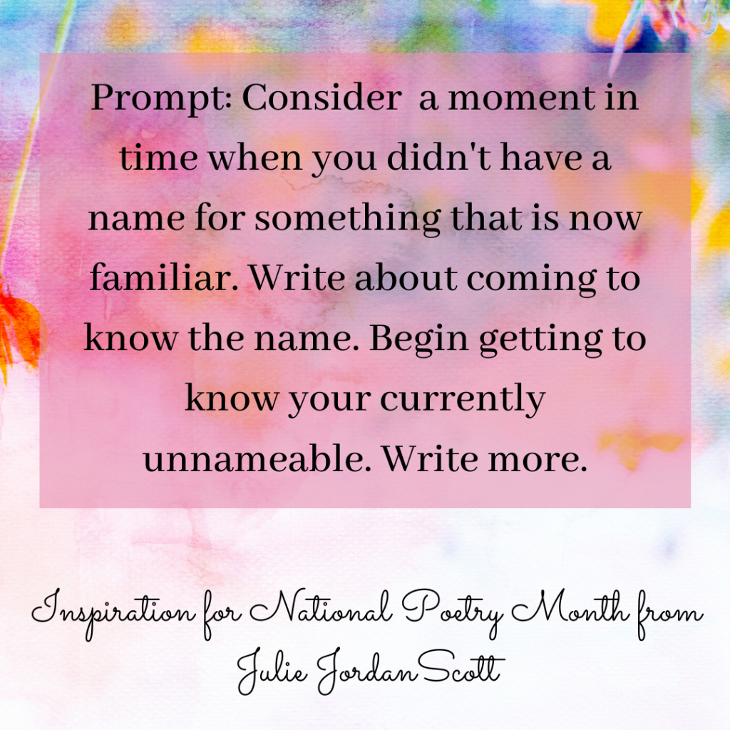 """Water color image with a prompt based on Brene Brown quote and the Elizabeth Bishop Poem, """"One Art"""" The Prompt says """"Consider a moment in time when you didn't have a name for something that is now familiar. Write about coming to know the name. Begin getting to know your currently nameable. Write more."""