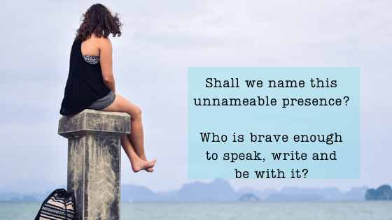 Woman sitting on a high pole, contemplating the ocean in front of her. Questions: Shall we name this unnameable presence? Who is brave enough to speak, write and be with it?