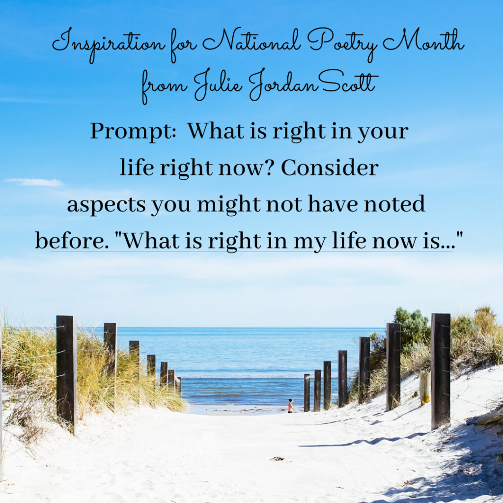 "A blue sky holds this prompt for conversation, contemplation and creativity. ""What is right with your life right now?"" A pathway toward water invites you to look more deeply at the question and the prompt... ""What is right in my life now is...."""