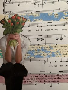 In a mixed media collage, a woman is holding a bouquet of tulips covering her face. She is atop a copy of a musical score and painted light blue textbook paper.