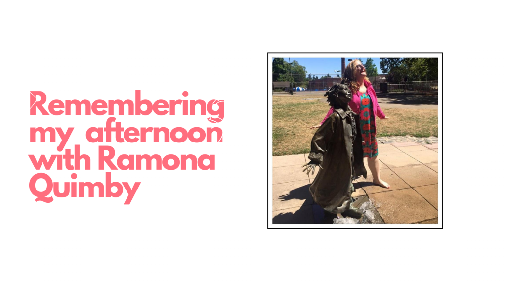 Julie JordanScott standing with the sculpture of Ramona Quimby, beloved character created by Beverly Cleary who lived near Grant Park in Portland when she was a child.