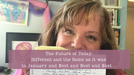 Julie JordanScott, Creative Life Coach in her art studio where she writes and creates mixed media art, leads online workshops and aims to make the world a better place.
