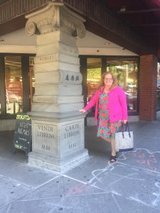 Julie JordanScott with a book sculpture outside Portland's Powell Books, a local and national treasure.