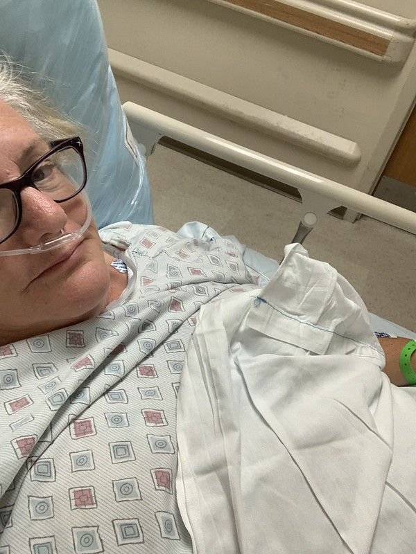 Julie JordanScott in the hospital while she was battling pneumonia, sepsis and multiple organ failure.