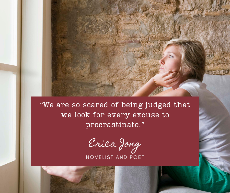 Photo of a woman, looking out a window while holding onto a cushion. She is a writer, procrastinating. She needs to write, but won't. Erica Jong believes it is fear of judgement that stops her.