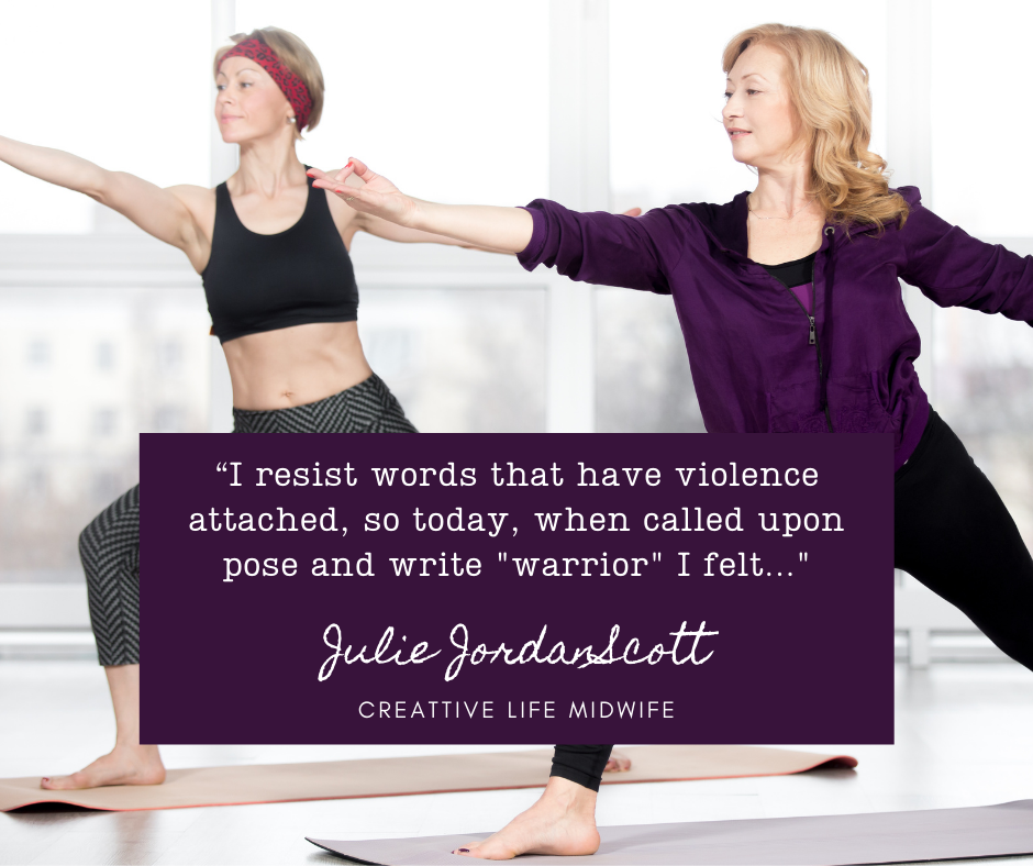 "Two women are doing the Warrior 2 pose and the Creative Life Midwife has challenges with using ""Warrior"" or violent words in her writing. This image illustrates her resistance and her willingness to write."
