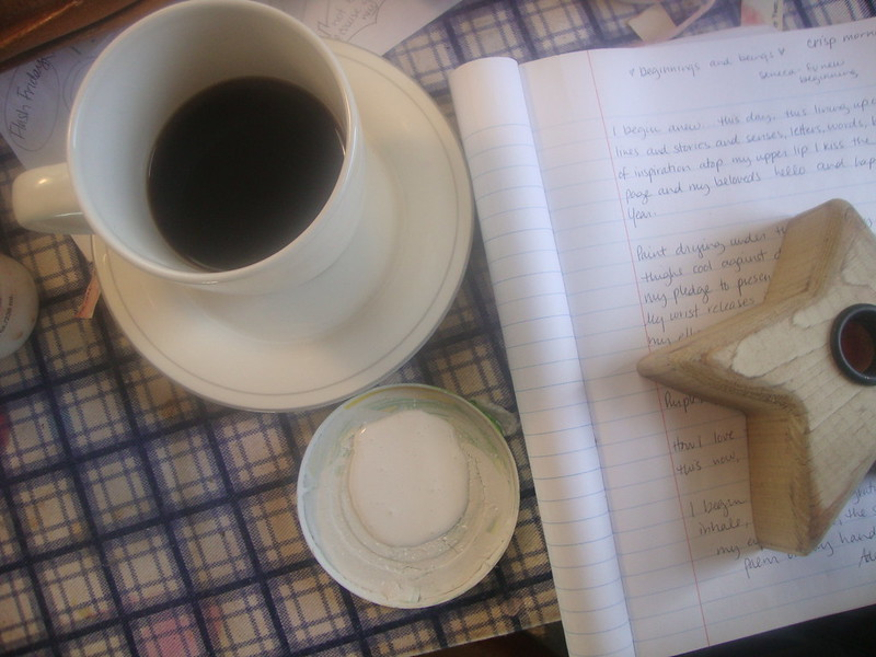 Notebook, coffee and the candle is what creates the intention for the sacred.  Where a writing habit becomes sacred.