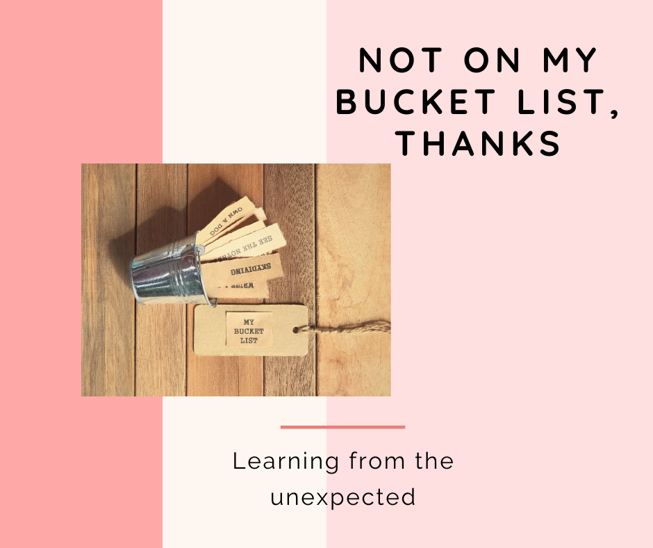 "A bucket list on its side asks the question, ""What to think about things that aren't on my bucket list?"" and yet they may be significant growth experiences."