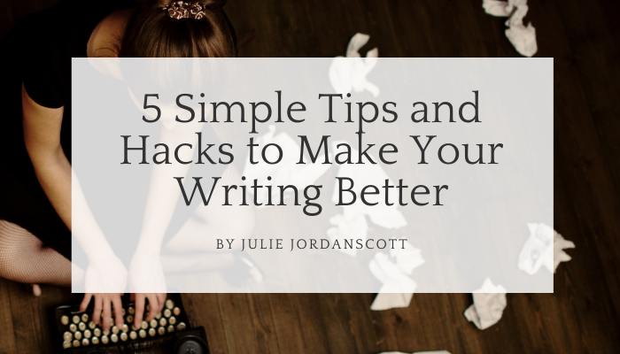 Woman on the floor, writing, papers thrown about showing she is not pleased with her writing. These hacks and writing tips will help her writing improve.
